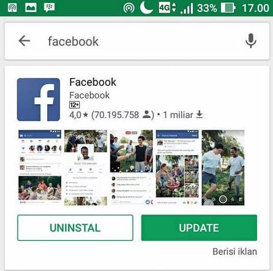 Facebook Tidak Bisa Dibuka dengan Update Aplikasi